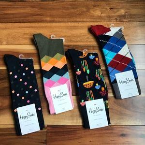 Happy SOCKS Mens Printed  Sock Lot x 4 NWT